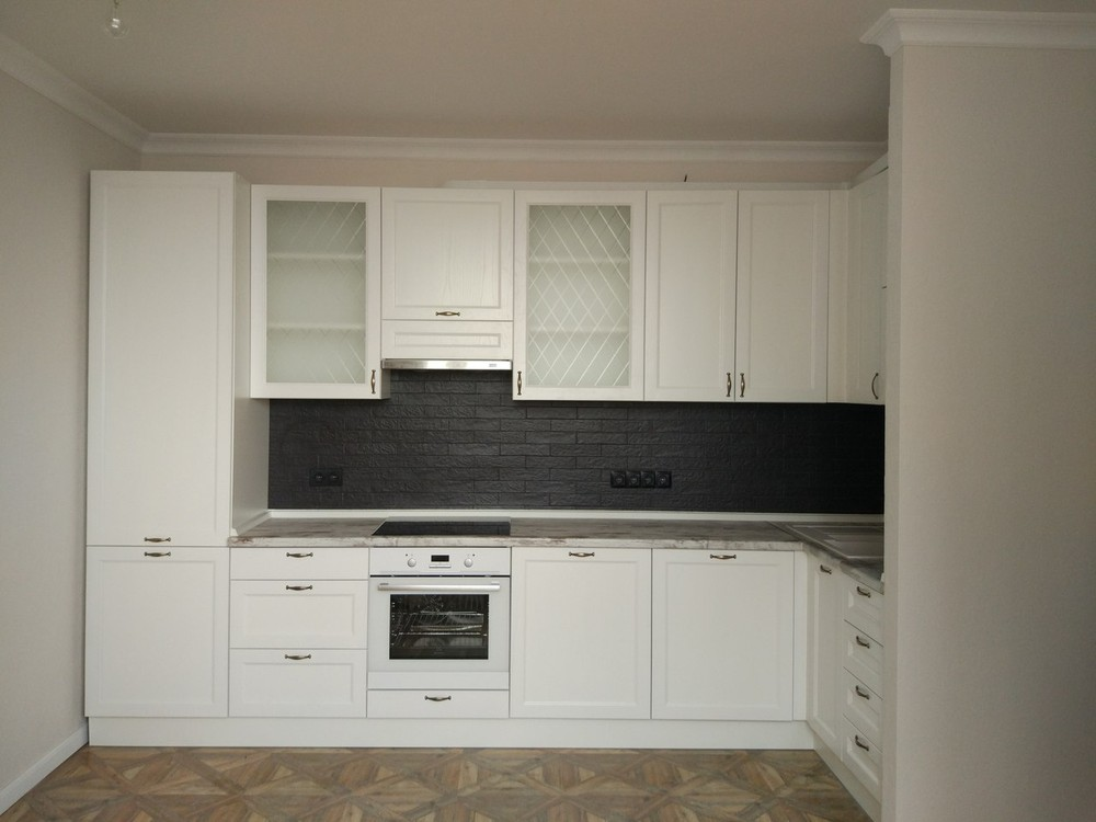 Белый кухонный гарнитур-Кухня из массива «Модель 218»-фото1