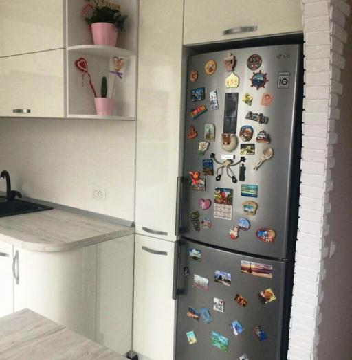 Белый кухонный гарнитур-Кухня из пластика «Модель 384»-фото3