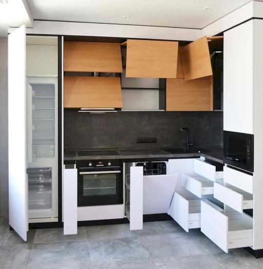 Белый кухонный гарнитур-Кухня МДФ в эмали «Модель 645»-фото6